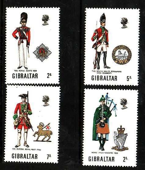 Gibraltar-Sc#234-7- id6-unusedNH set-Military-Uniforms-1970-