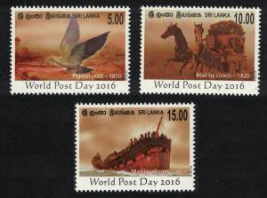 Sri Lanka Pigeon Post Birds Horses Ship World Post Day 3v SG#2401-2403