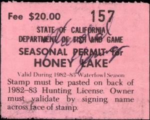 CALIFORNIA  #A27 1982 HONEY LAKE STAMP USED d106