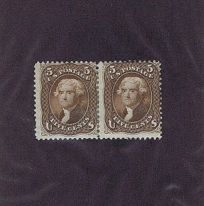 SC# 76 UNUSED PAIR ORIGINAL GUM HINGED 5C JEFFERSON 1863, 2001 PF CERT (COPY)