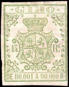 ESPAGNE / SPAIN / ESPAÑA 1861 Sello Fiscal (GIRO) 45 reales - (faults)