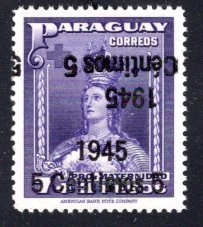Paraguay #424, Error – Double Overprint, One Inverted.   MNH ...  4910308