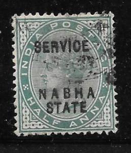 India Nabha O6: 1/2a Victoria Overprint, used, F-VF