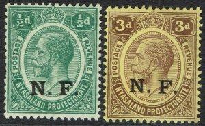 TANGANYIKA 1961 NYASALAND RHODESIA FORCE NF KGV 1/2D AND 3D