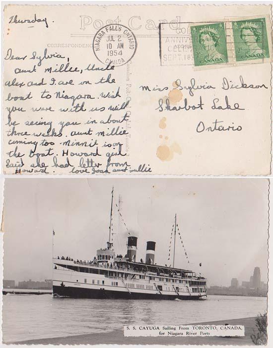 Canada #331 Coil Pair Paying Postage on View Card Showing S.S.Cayuga