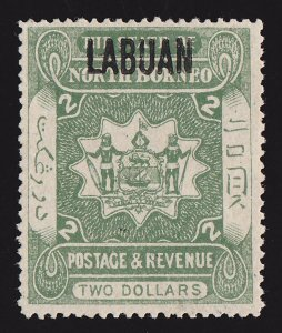 LABUAN 1901 Arms $2 PHOTO CERTIFICATE EXTREMELY RARE!