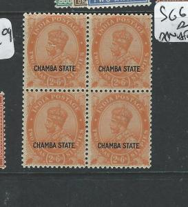 INDIA CHAMBA (PP0804B) KGV 2A 6P  SG 69  BL OF 4  MNH