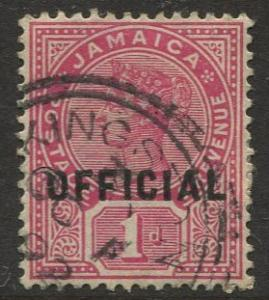 Jamaica -Scott O3 -QV Official Overprint -1890 - Used - Single 1p Stamp