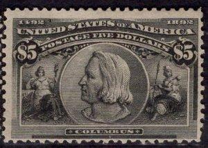 US Stamp Scott #245 $5 Columbian MINT Hinged Large Part OG SCV $2300