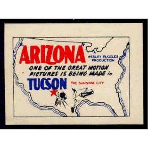 US 1940 ARIZONA Motion Picture Advertising Poster Stamp