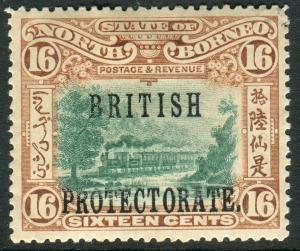 NORTH BORNEO-1901-5 16c Green & Chestnut Perf 14½x15 OVPT MM Sg 136a