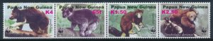 Papua New Guinea MNH Strip 1090 Tree Kangaroos WWF SCV 8.00