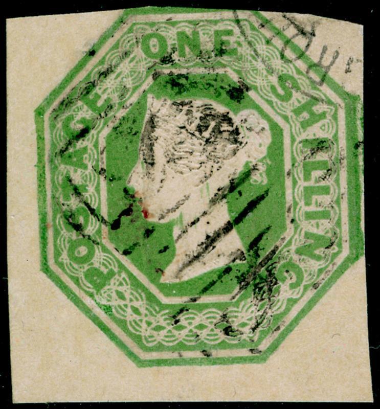 SG54, 1s pale green, CUT SQUARE, FINE USED. Cat £1000.