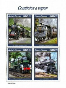 Guinea-Bissau - 2019 Steam Trains on Stamps - 4 Stamp Sheet - GB190503a
