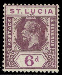 ST. LUCIA GV SG102, 6d grey-purple & purple, M MINT.