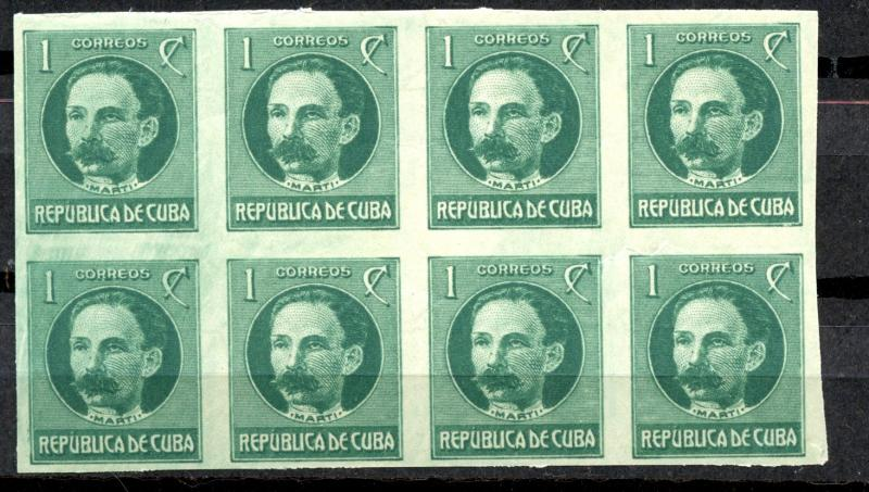 CUBA yr 1917-18 JOSE MARTI IMPER  BLOCK 8 #264 / HipStamp