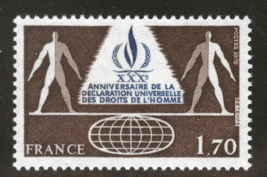 FRANCE Scott 1623 MNH** Human Rights stamp 1978