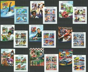ML445-448,680-684 2014 MALDIVES SPORT GREATEST ATHLETS OLIMPIC GAMES 9KB+9BL MNH
