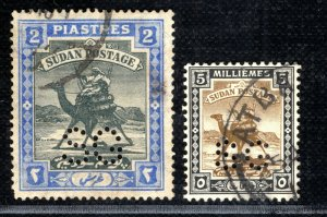 SUDAN Official Stamps{2} 2 Piastres & 5m *SG* Perfin CAMEL POST Used YGREEN48