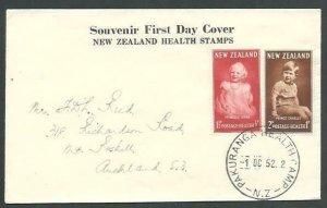 NEW ZEALAND 1952 Health FDC - Pakuranga Health Camp cds....................66143