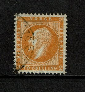 Norway SC# 2, Used, small amount of pencil mark on back - S9184