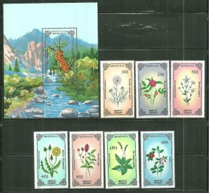 Mongolia MNH S/S & 7 Stamps 1456-63 Indigenous Flowers SCV 8.85