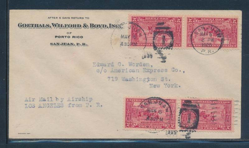 MAY 6,1925 SI #20U ON AIRSHIP U.S.S. LOS ANGELES FLIGHT COVER P.R. TO NY BU6735