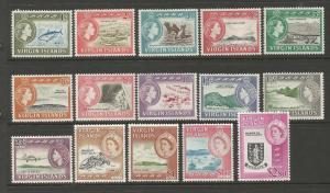 BRITISH VIRGIN ISLANDS  1964  QEII  PICTORIALS   SET 15  MLH  SG 178/92