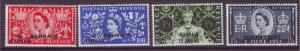 J10870 JL Stamps 1953 bahrain mh set4 #92-5 queen ovpt,s