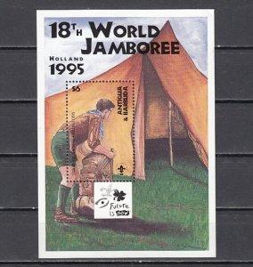 Antigua, Scott cat. 1932. World Scout Jamboree s/sheet. ^