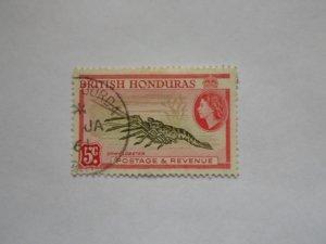 BRITISH HONDURAS STAMP  USED HINGE MARKS. # 11