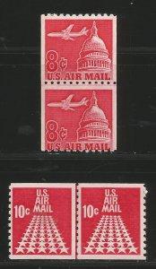 Lot # A103 Scott # C64 & # C72 Air Mail Coil Pairs