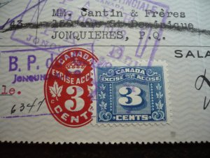 Canada - Revenue Embossed & Excise Stamp on a Time Draft
