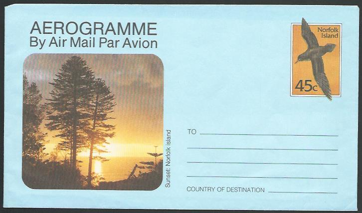 NORFOLK IS 1985 45c Bird aerogramme fine unused............................10894