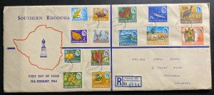 1964 Salisbury Southern Rhodesia First Day Cover FDC Comp Set Sc#95-108