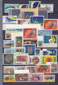 Gabon Africa Space Air Birds IMPERFS MNH (Appx 65 Stamps) (As 498