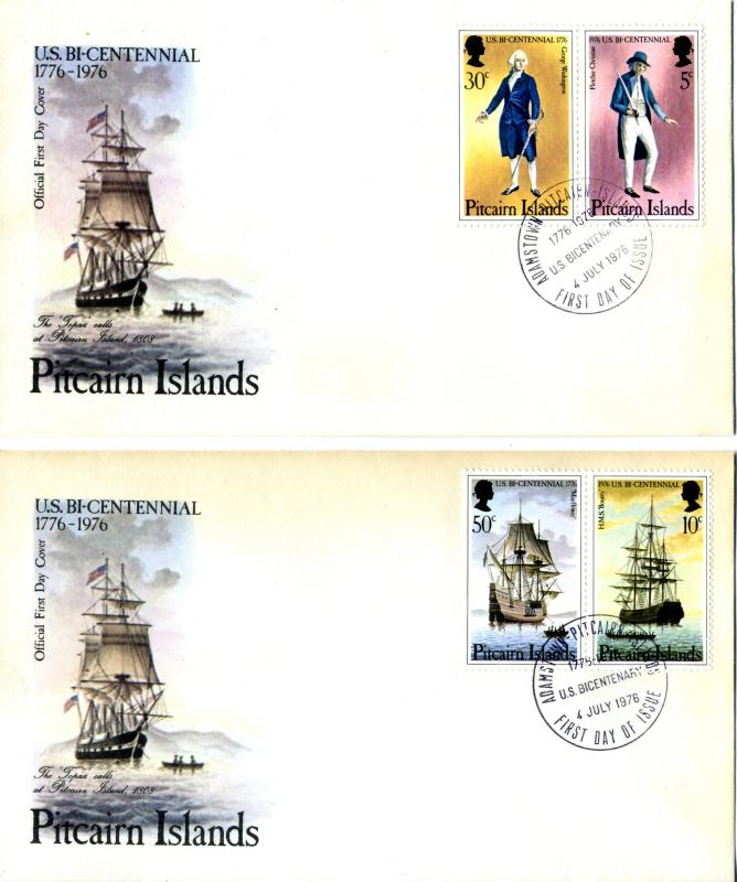 1976 Pitcairn Island Sc 158a 159a First Day Covers US Bicentennial Tall Ship FDC