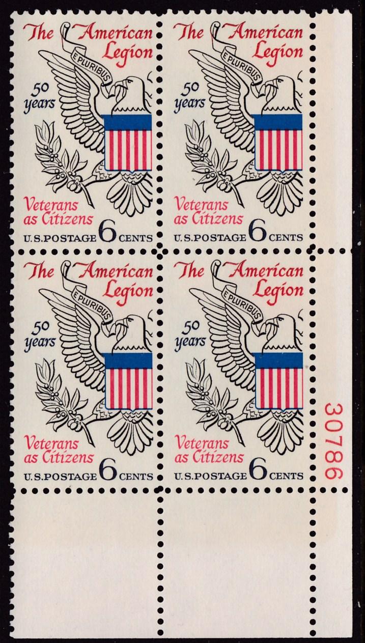american legion letterhead template - u s 1969 6cent american legion plate number block vf nh