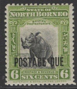 NORTH BORNEO SGD59 1923 6c BLACK & OLIVE-GREEN MTD MINT