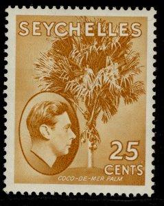 SEYCHELLES GVI SG141, 25c brown-ochre, LH MINT. Cat £50. CHALKY