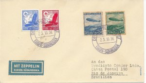 Covers Zeppelin 1936 Airmail Brazil Germany Condor Luftpost South America Sieger