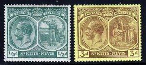 ST.KITTS-NEVIS KG V 1921-29 ½d. & 3d. Wmk Mult Script CA SG 37 &  SG 45a MINT