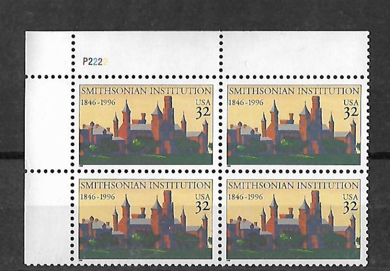 UNITED STATES , 3059 , MNH , PLATE BLOCK, UL , SMITHSONIAN INSTITUTION, 150TH...