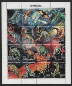 $Central African Republic Sc#1019 M/NH sheet/16, Dinosaurs, Cv. $26