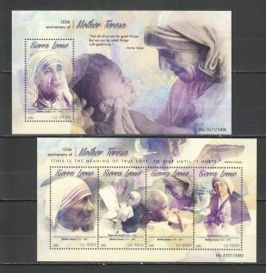 ST552 2015 SIERRA LEONE 105TH ANNIVERSARY MOTHER TERESA 1KB+1BL MNH STAMPS