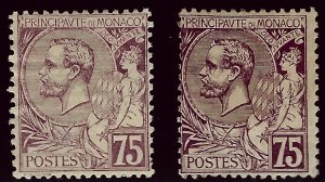 Early Monaco Scott #25, 25a Mint Shades Fine...Tough to buy at these prices!