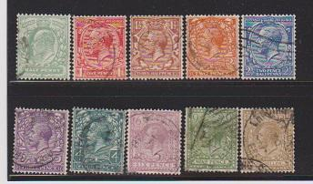 GREAT BRITAIN STAMPS USED #187,188,189,190,192,193,195,198,200 LOT#455