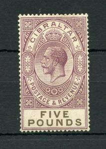 GIBRALTAR FIVE  POUND 1921/32  #93 MINT VERY LIGHT HINGED ---SCOTT $1750.00