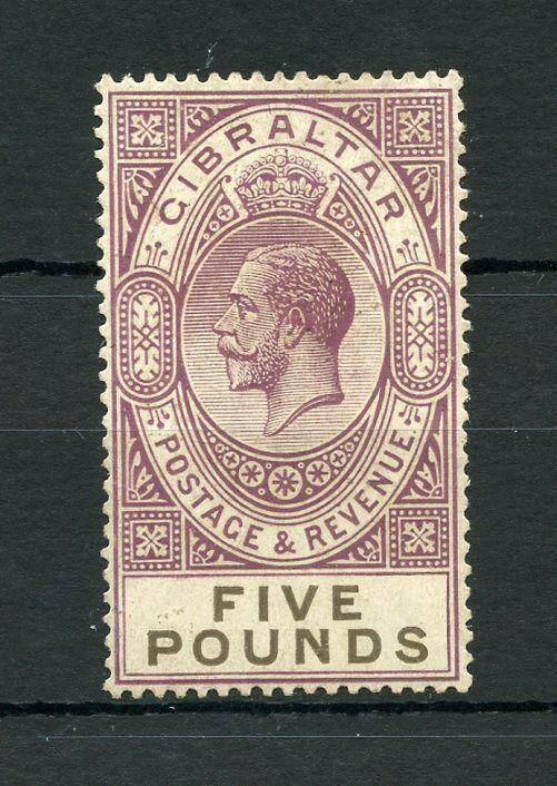 GIBRALTAR FIVE  POUND 1921/32  #93 MINT VERY LIGHT HINGED ---SCOTT $1750.00
