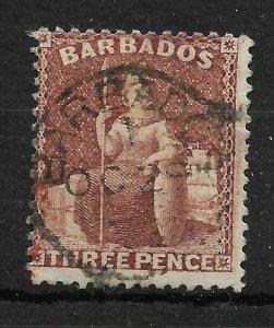 BARBADOS SG63 1873 3d BROWN-PURPLE USED